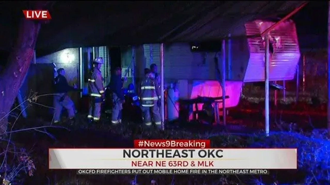 Firefighters Say NE OKC Mobile Home Total Loss Following Early Morning Fire