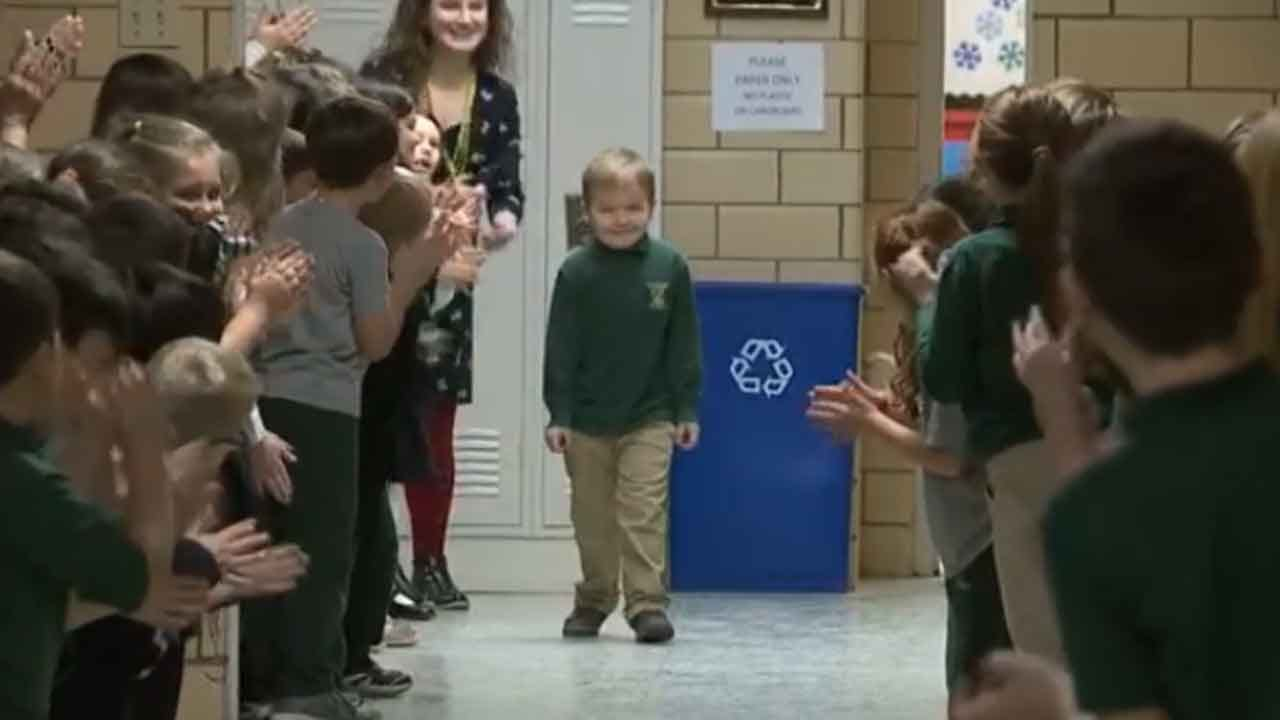 WATCH: Classmates Give Standing Ovation To 6-Year-Old Boy After His Final Chemo Treatment