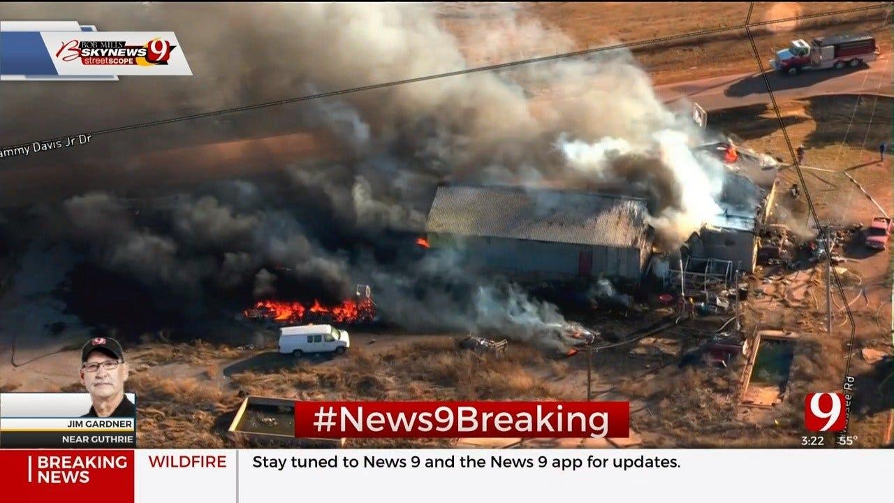 Firefighters Battle Structure Fire Near Guthrie