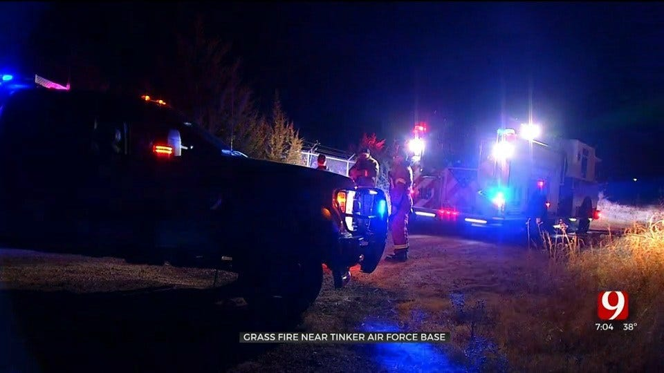 Grass Fire Covers Nearly 5 Acres Near Tinker Air Force Base; No Injuries Reported