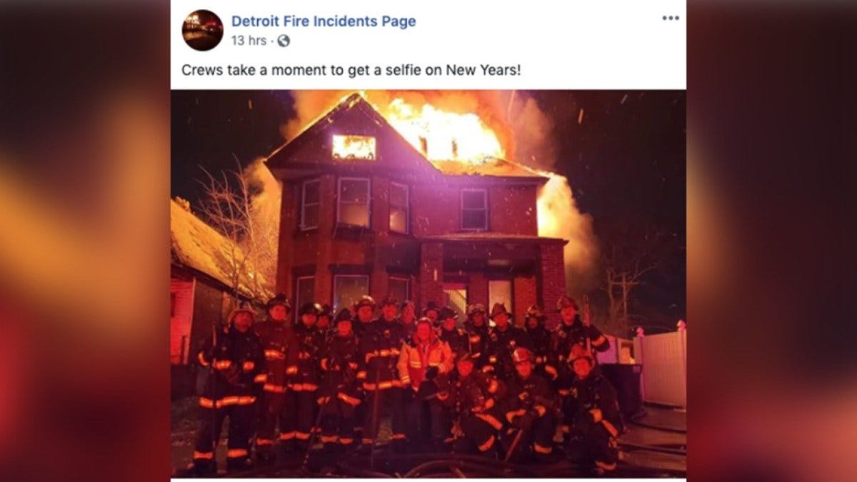 Trends, Topics & Tags: Detroit Firefighters Pose For Photo In Front Of Burning House