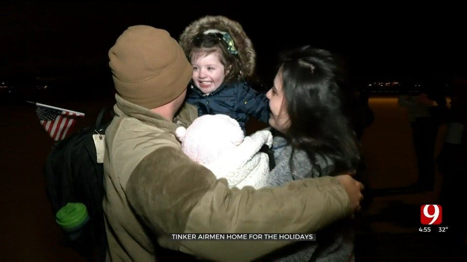 Hundreds Of Airmen Return Home To Tinker AFB For Holidays
