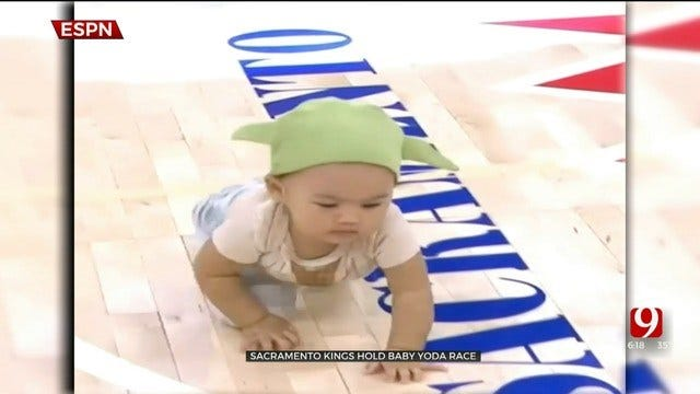 WATCH: Sacramento Kings Hold Halftime 'Baby Yoda Races'