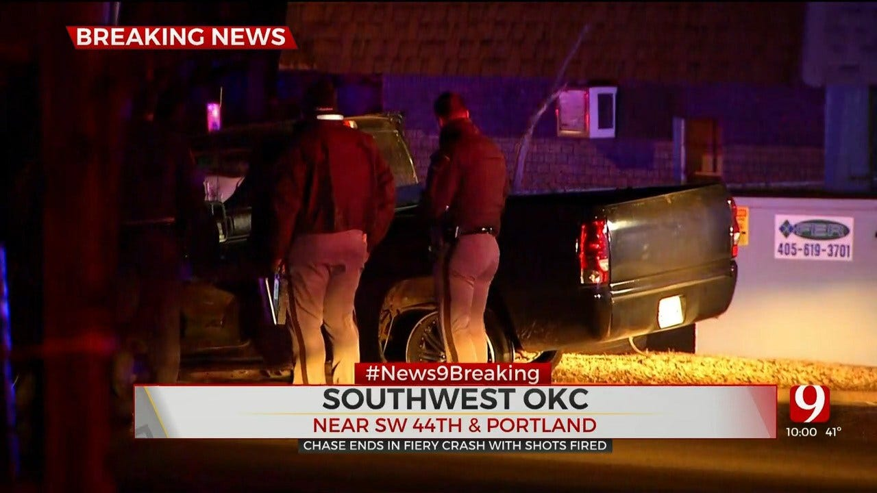 Police: Shots Fired After Chase Involving Stolen Vehicle Ends In Crash In SW OKC