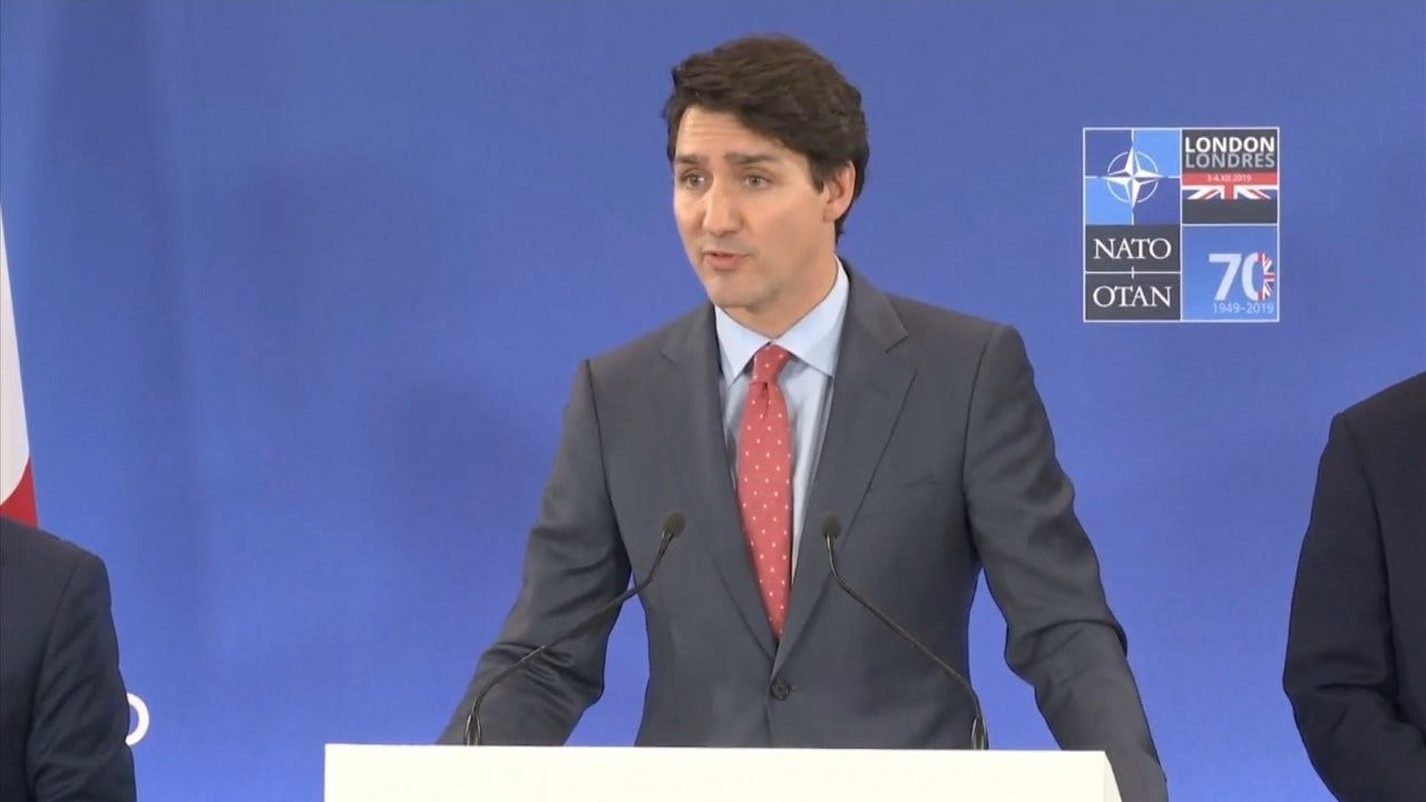 Canadian PM Trudeau Answers Questions After Video Appears To Show Him Gossip About Pres. Trump