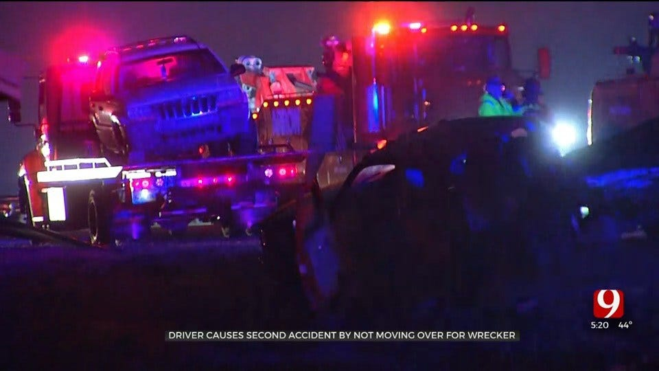 Second Crash Caused By Driver Not Moving Over For Wrecker On I-44 In SW OKC