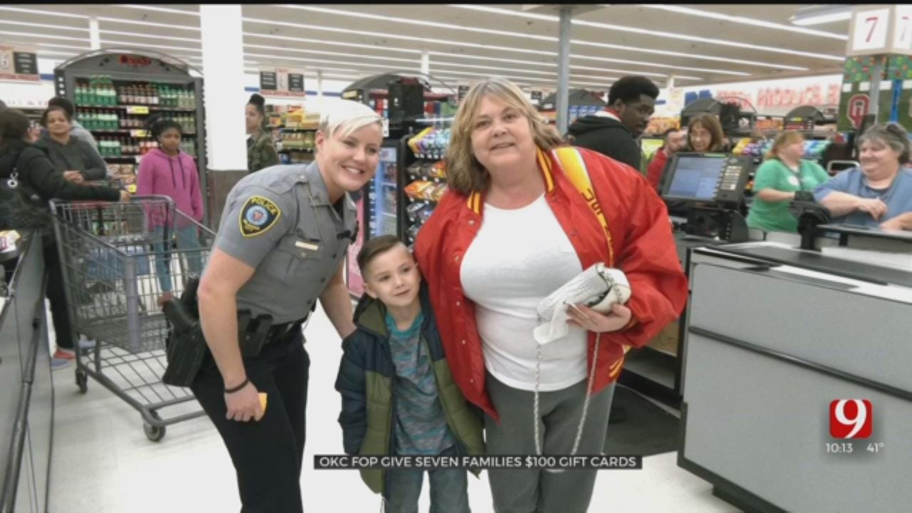 SURPRISE: OKC Officers Give Families Gift Cards At Grocery Store