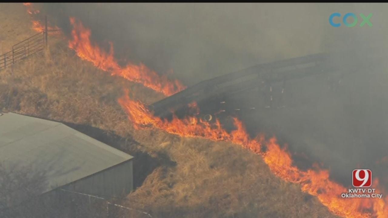 WATCH: Bob Mills SkyNews 9 Flies Over Large Grass Fire In NW OKC