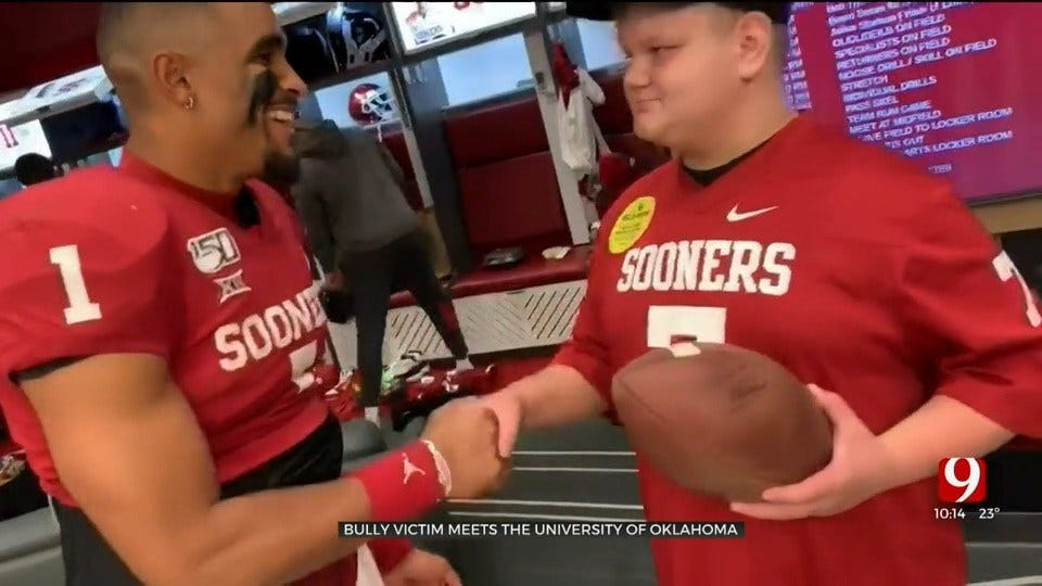 Yukon Bully Victim Meets, Receives Support From OU Football Team