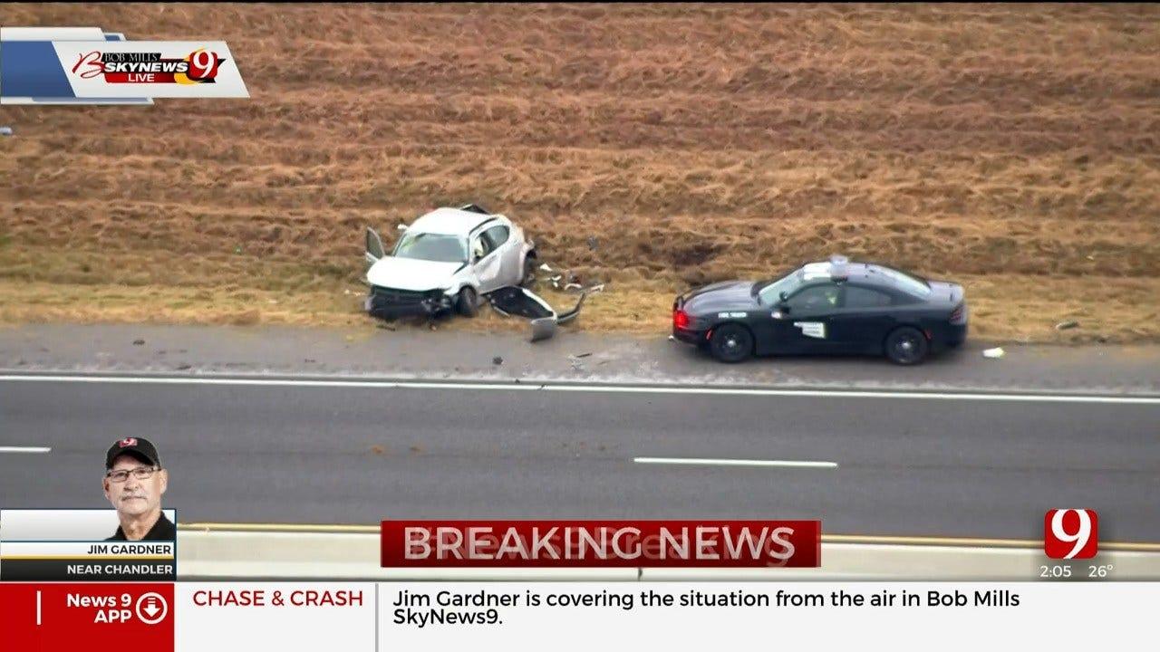 Pursuit Ends In Crash On Turner Turnpike Near Chandler