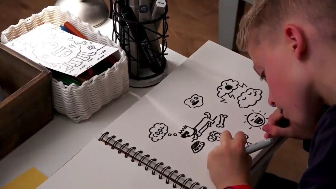 10-Year-Old Gains Thousands Of Fans For His 'Doodles'