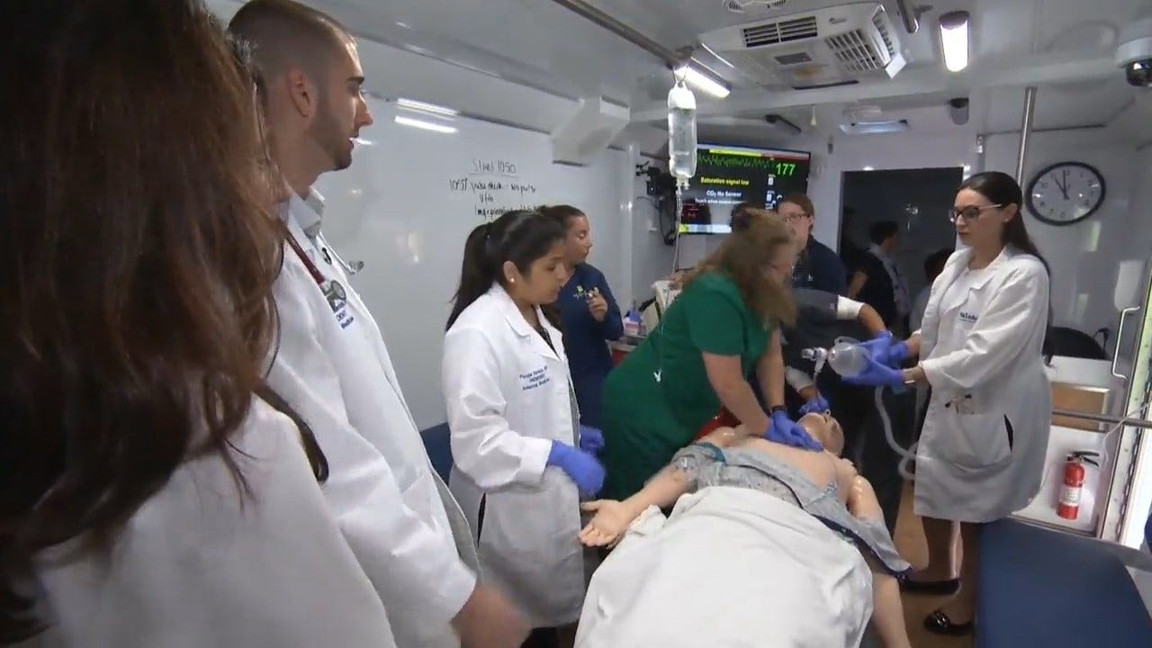 Some Medical Students Learn In Simulation Lab Inside A Van
