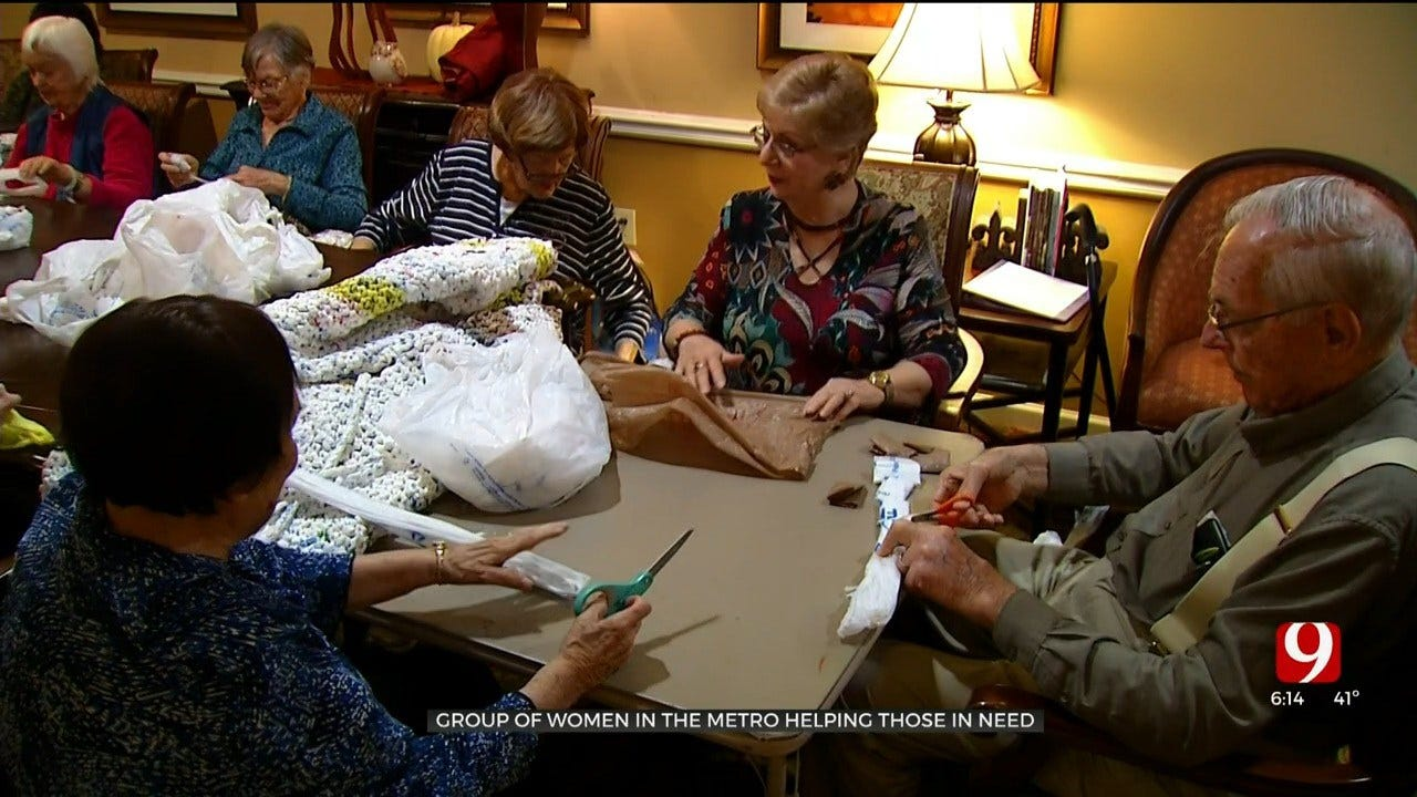 Residents At OKC Senior Living Facility Weave Mats For Homeless