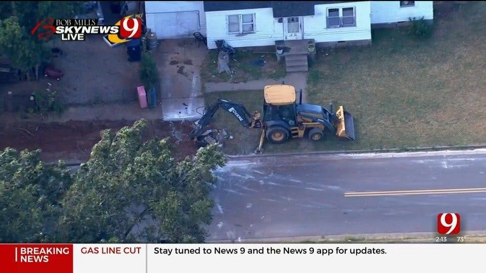WATCH: Bob Mills SkyNews 9 Flies Over Gas Line Cut In SW OKC