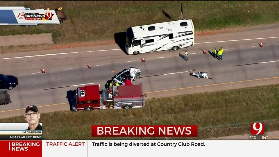 WATCH: Bob Mills SkyNews 9 Flies Over Fatal Accident On WB I-40 Near Fort Reno Exit