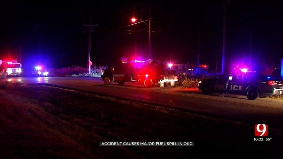 OCPD: 150 Gallons Of Diesel Spilled In SW OKC Accident
