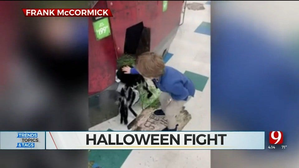 WATCH: Toddler Fights Off Spider Halloween Decoration In Hilarious Viral Video