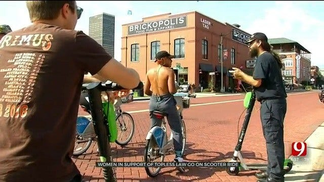 Supporters Of Topless Law Go On Scooter Ride In Downtown OKC