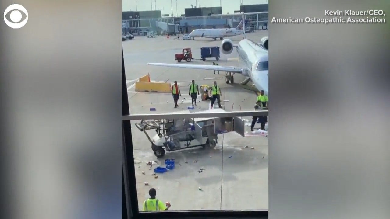 WATCH: Viral Video Shows Catering Cart Spiral Out Of Control On O'Hare Tarmac