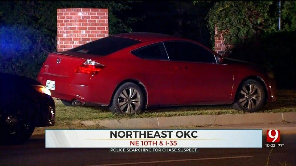 Suspect On The Run Following Pursuit, Crash In NE OKC