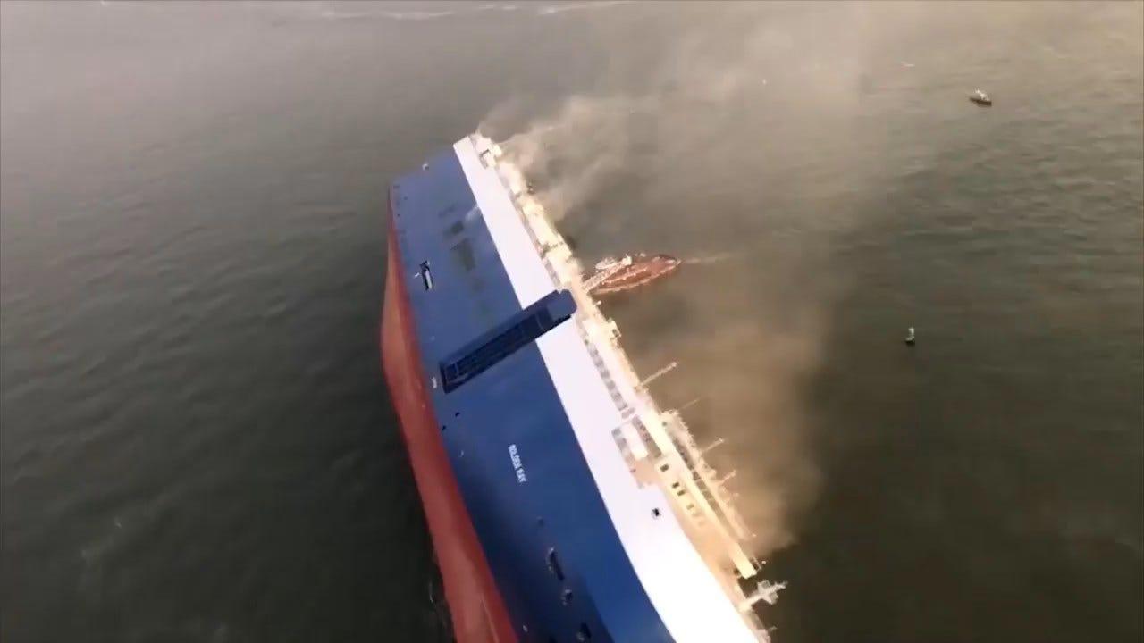 Ship Overturns Near Georgia Port; 4 Crew Members Missing
