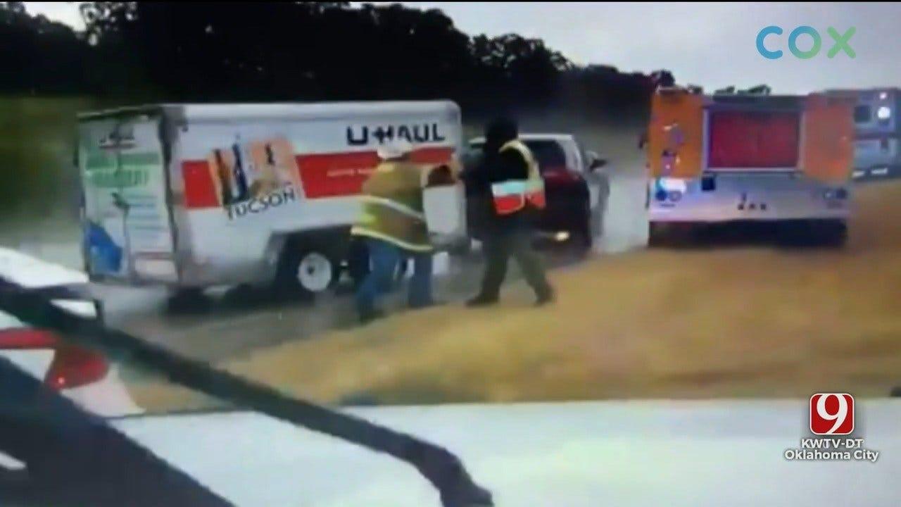 SCARY: Driver's U-Haul Trailer Slams Into Oklahoma Emergency Responders