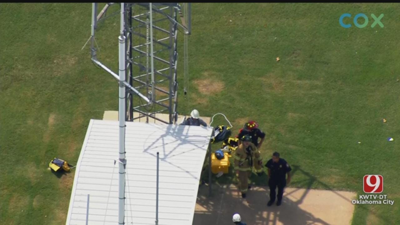 WATCH: Man Rescued From Tower In SW OKC