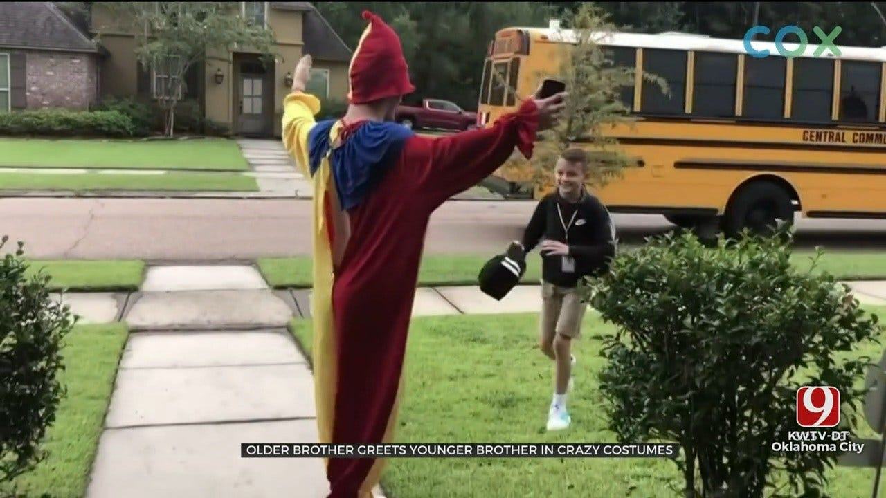 Teen Dresses Up In Different Costume Every Day To Pick Up Brother From Bus Stop