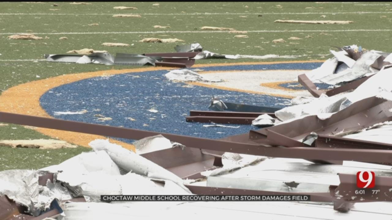 Choctaw Middle School Football Field Covered With Roof After Severe Storm