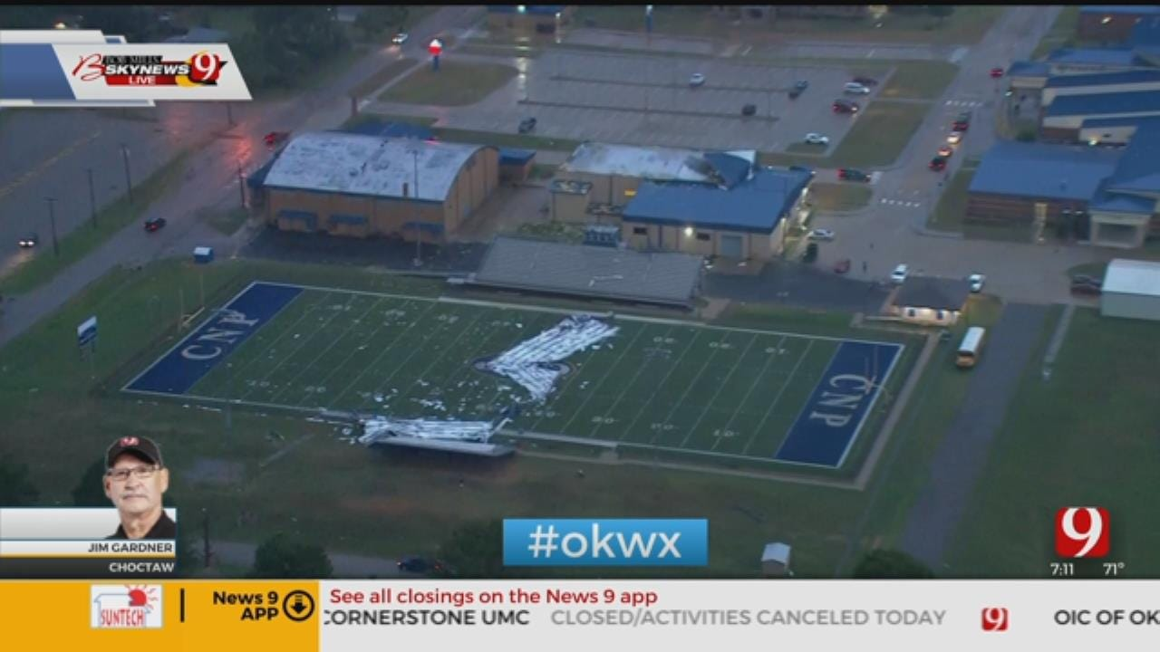 Overnight Storm Blows Roof Off Choctaw Middle School