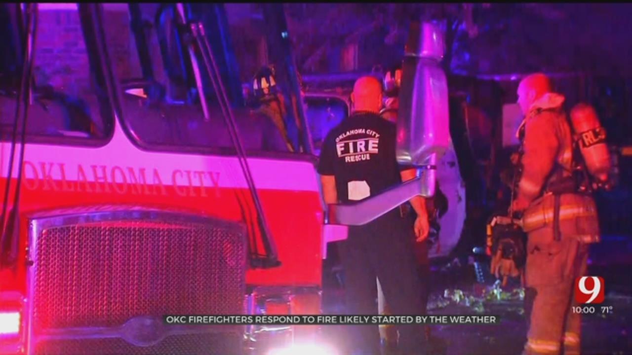 Firefighters Battle House Fire Following Heavy Storm In NW OKC