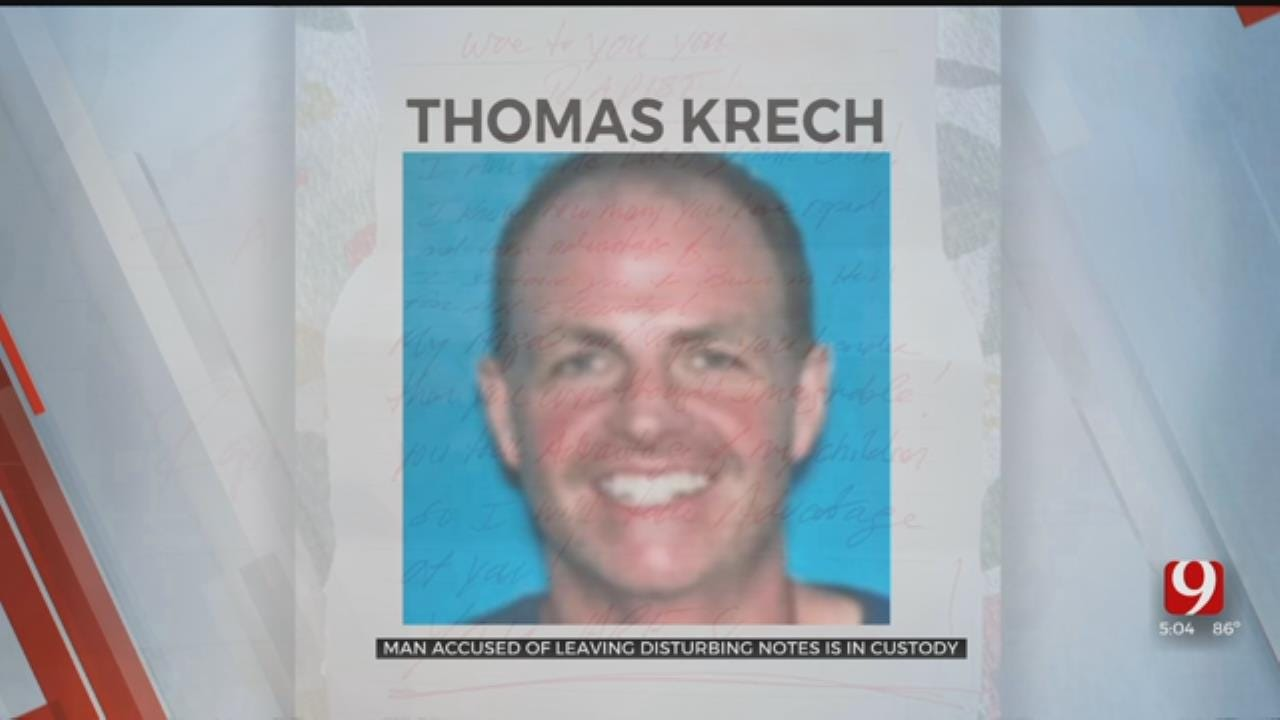 Man Accused Of Leaving Threatening Notes In OKC Area Detained In Stephens County