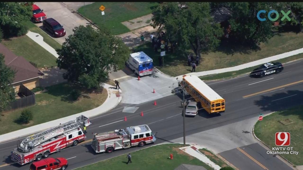 Car Crashes Into School Bus In SW OKC