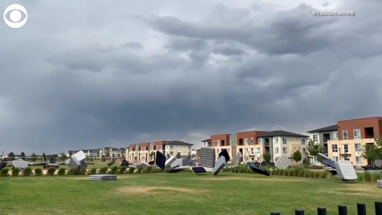 WATCH: Dozens Of Mattresses Blown Across A Field After Big Gust Of Wind