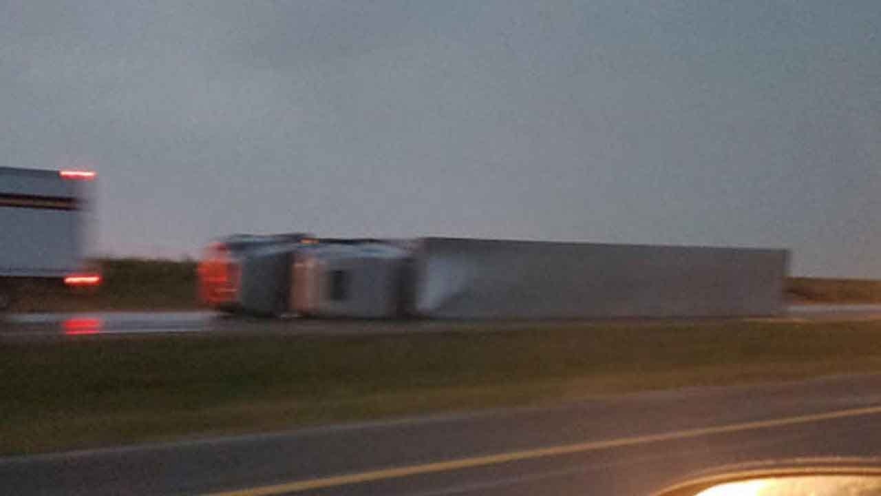 Strong Winds Blow Over At Least 20 Semis In Western Kansas