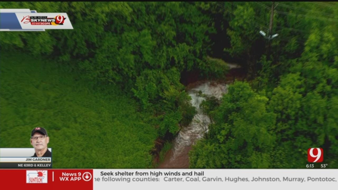 WATCH: Bob Mills SkyNews 9 Flies Over Water Main Break In NE OKC