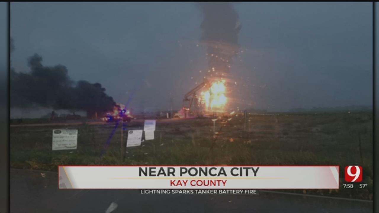 Lighting Strikes Ignites Tank Battery Fire Near Ponca City