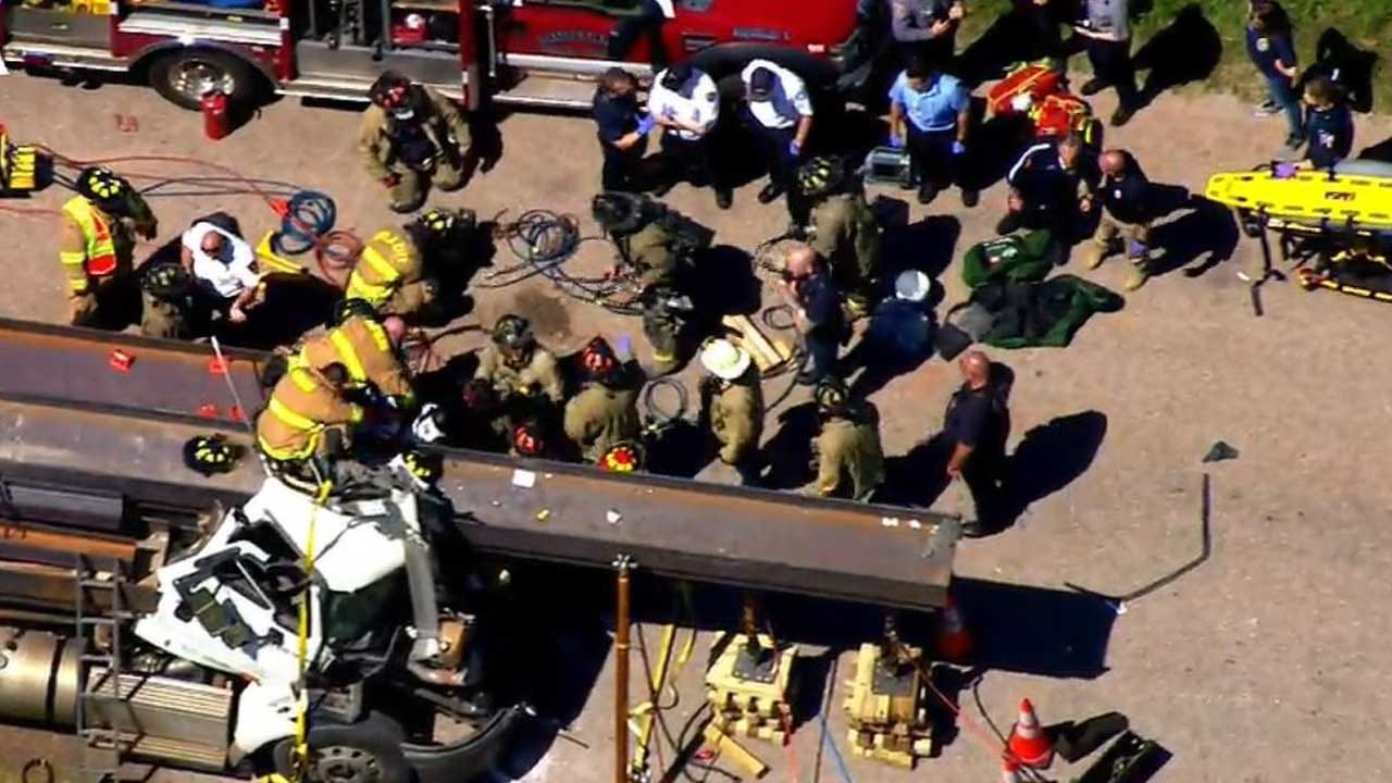 Man Extricated After Being Pinned In Semi Cab for Hours