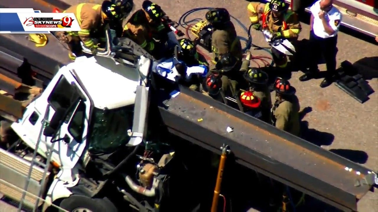 Driver In Critical Condition After Firefighters Extricate Him From Tractor-Trailer In Rural SW OKC