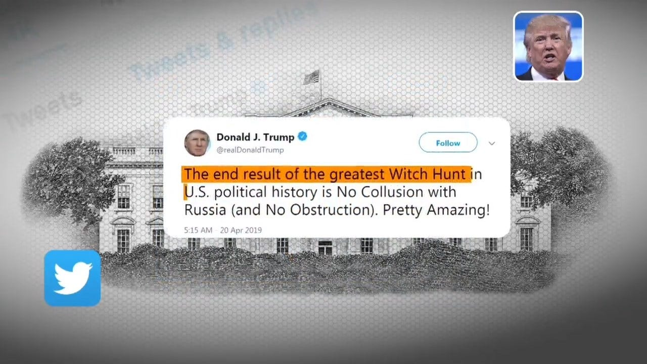 'No Collusion With Russia' President Trump Tweets In Response To Mueller Report