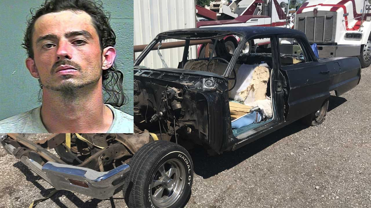 1 Arrested After Stolen Classic Car Found Stripped, Destroyed In SE OKC