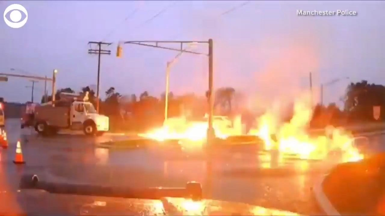 WATCH: Utility Worker Escapes Flames In New Jersey