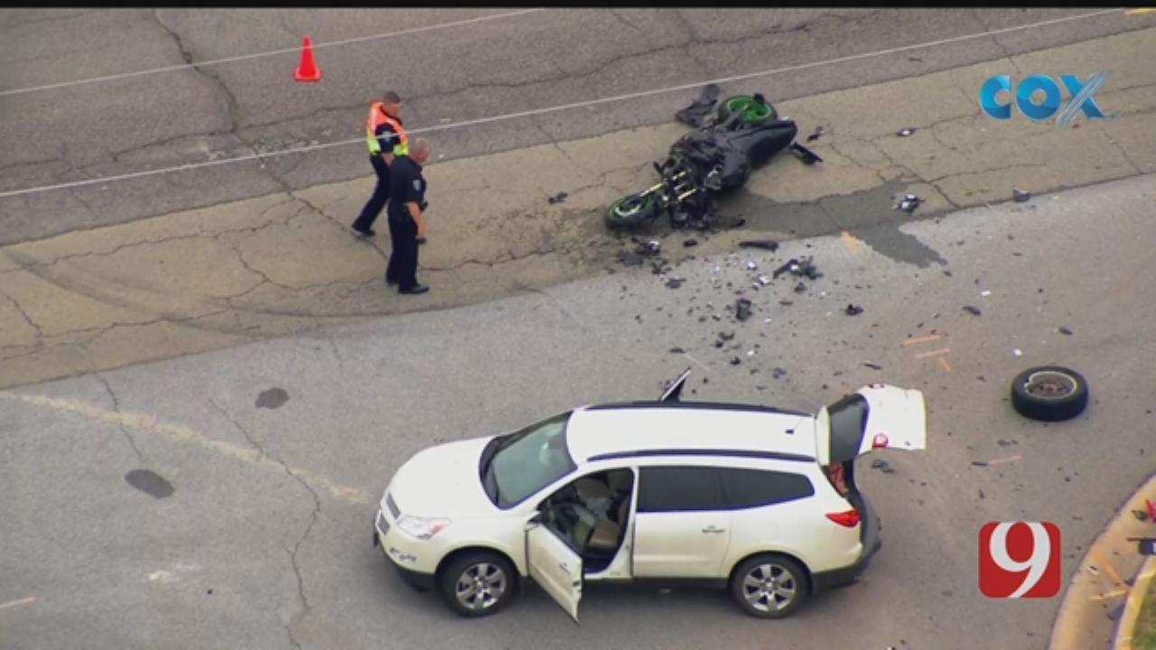 WATCH: Bob Mills SkyNews 9 Flies Over Crash Involving Motorcycle In Edmond
