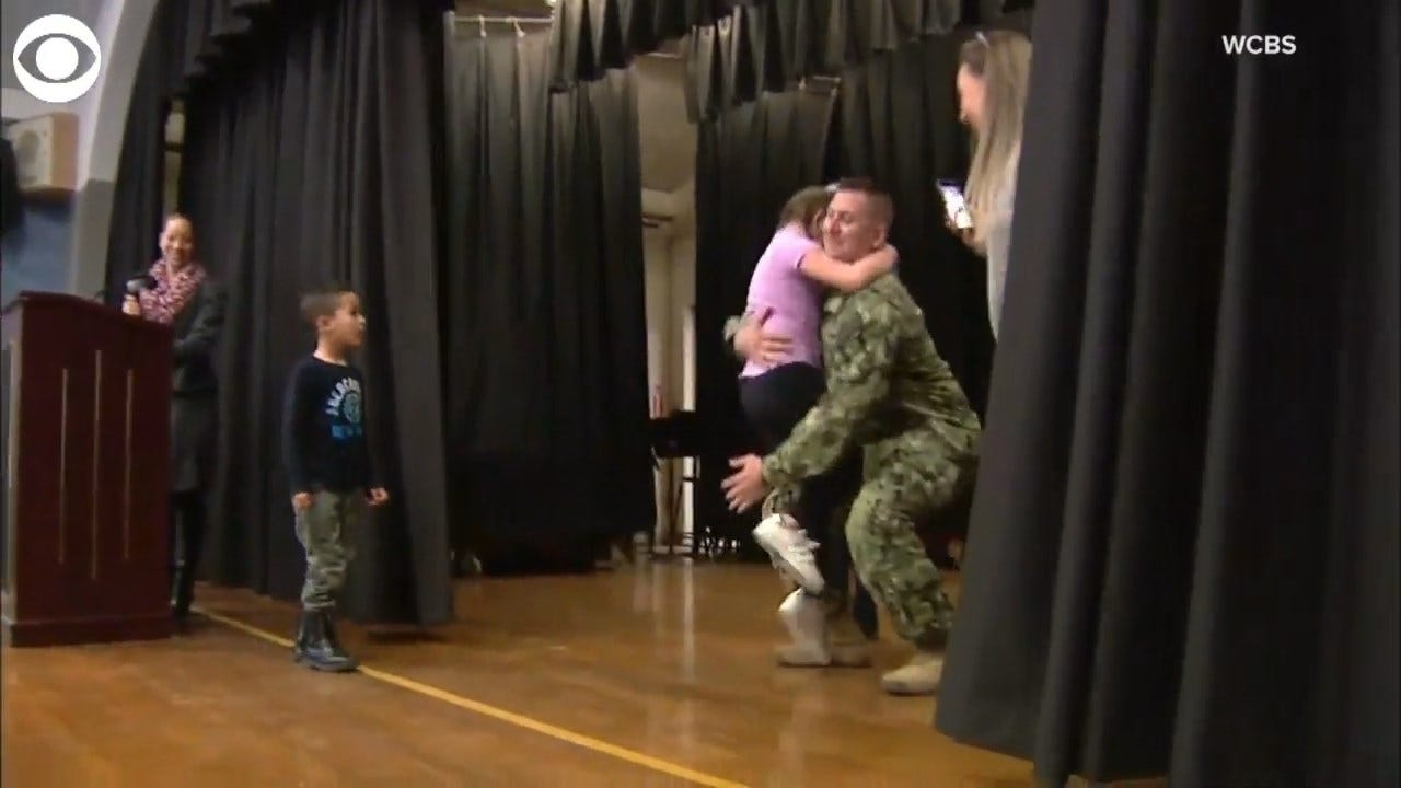 Navy Dad Surprises Kids During School Assembly