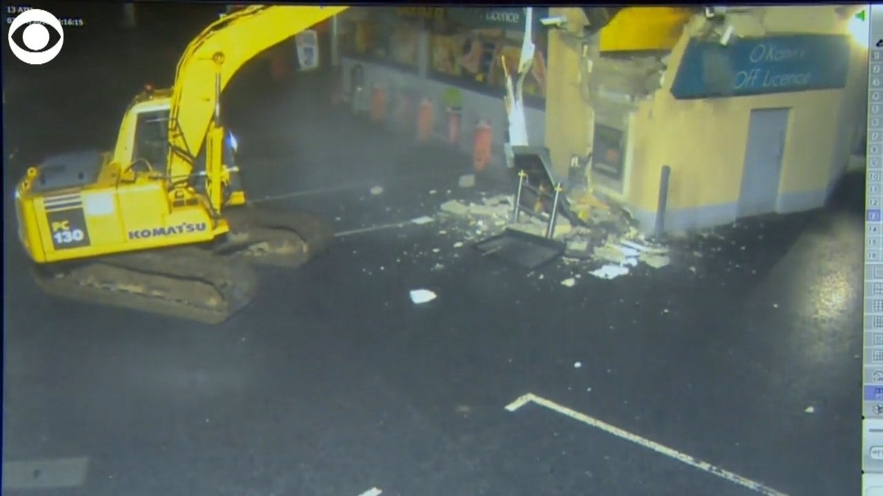 Caught On Camera: Person Rips ATM From Wall Using Stolen Excavator
