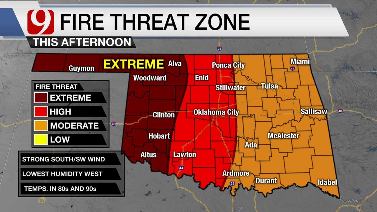 Western Oklahoma Under High Fire Danger, Red Flag Warning Issued