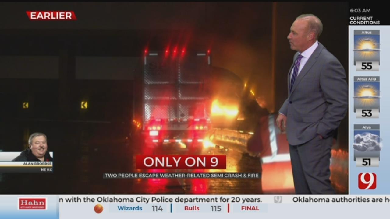 2 Escape Weather-Related Semi Crash, Fire