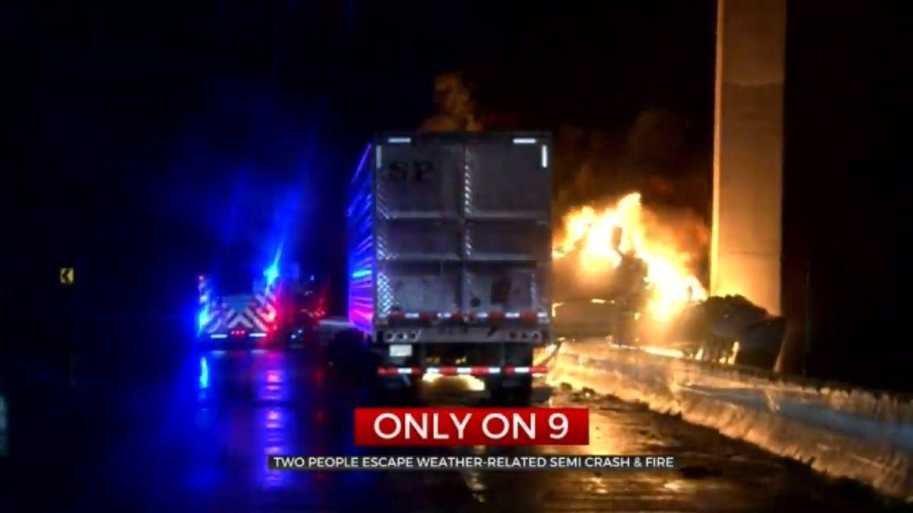 Crews Respond After Semi Crashes, Catches Fire In Oklahoma City