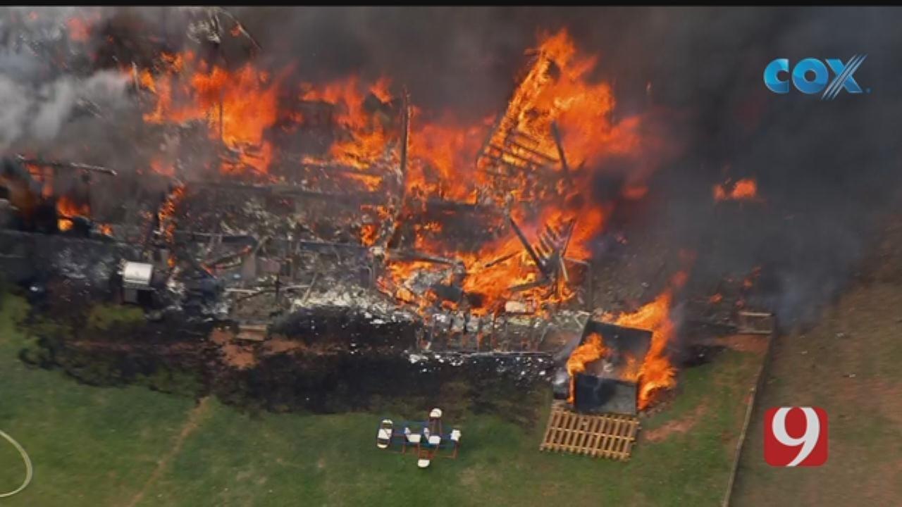 Firefighters Battle Large House Fire In Tuttle