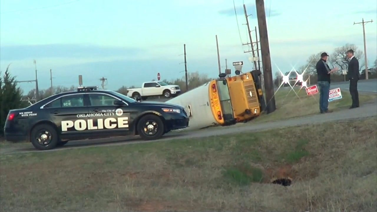 Watch: Crews Respond To Crash Involving Mustang School Bus